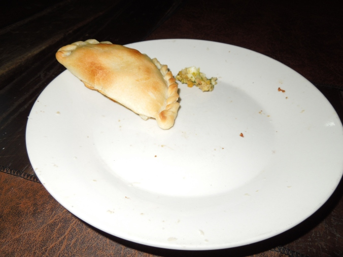 Yacare empanada--T grabbed a pic before the last one got eaten