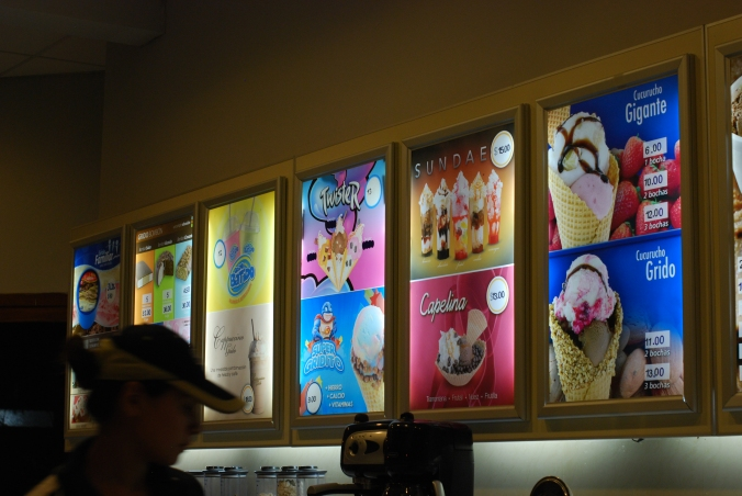 Menu in one of the local ice cream shops
