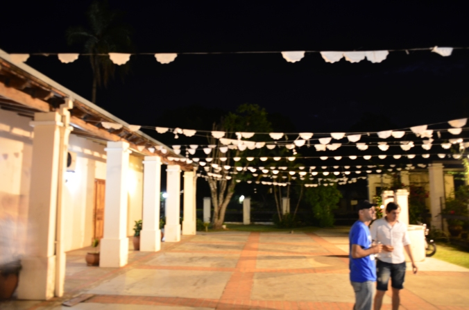 The patio of our venue... with some leftover decorations from the previous weekend's quinceanera celebration